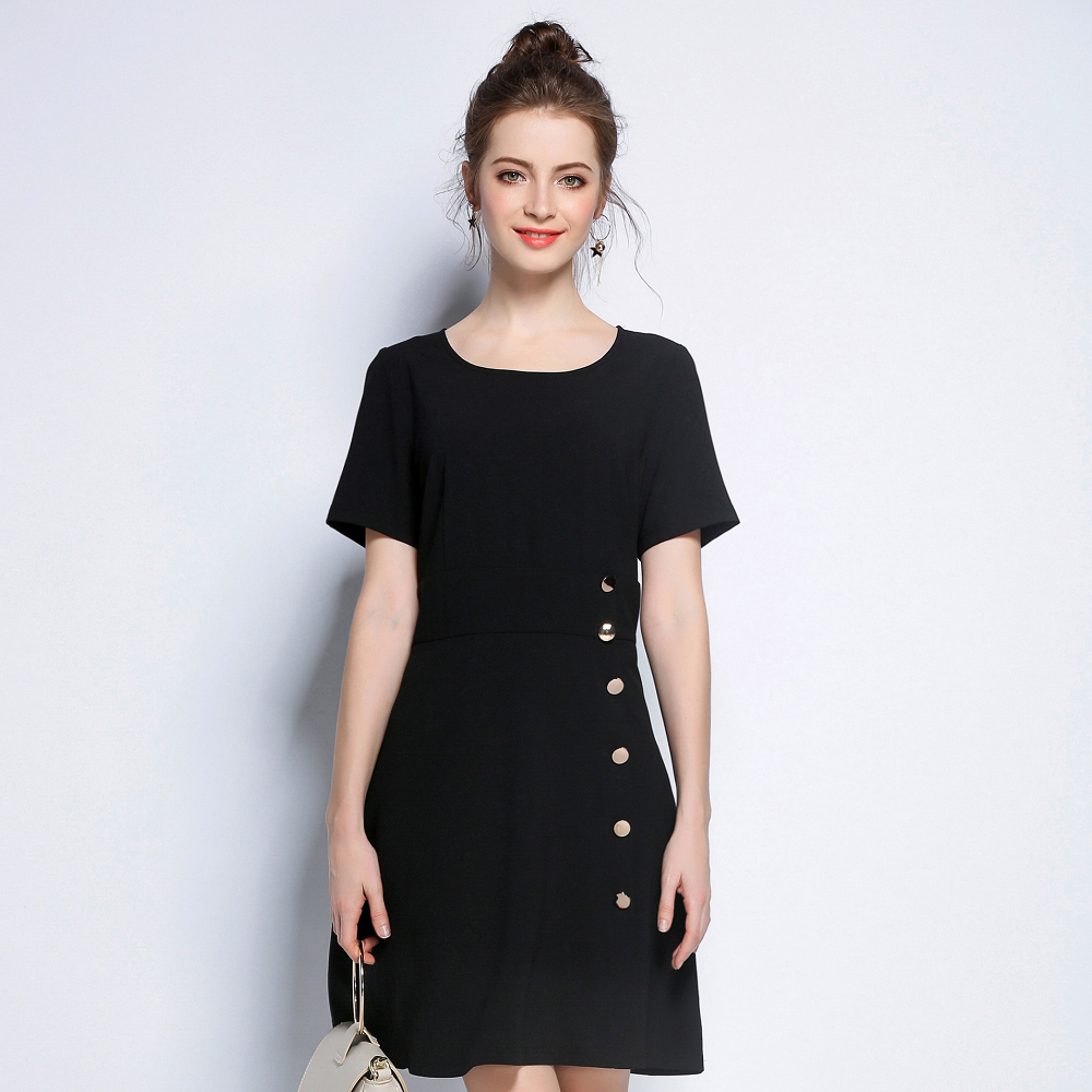 簡約金屬排扣連衣裙L~5XL-KVOLL