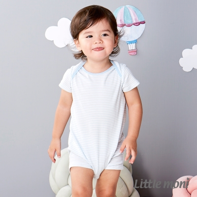 Little moni 純棉家居系列條紋短袖連身裝 粉紫藍