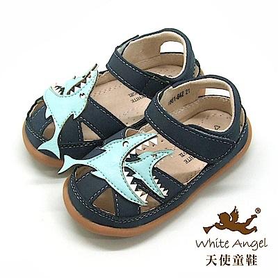天使童鞋 大魚吃小魚護趾涼鞋(小-中童)i861-藍
