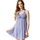 思薇爾 啵時尚花漾女神系列蕾絲刺繡性感連身小夜衣(鋯石藍)