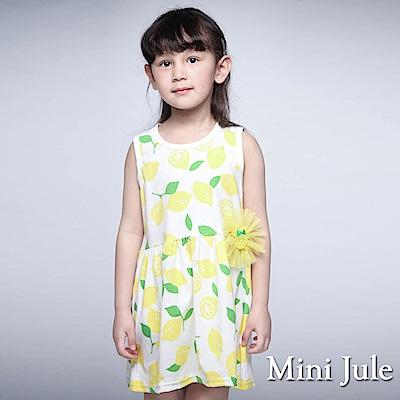 Mini Jule 童裝-洋裝 滿版檸檬花朵別針背心洋裝(黃)