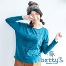 betty's貝蒂思 幾何感汽車插圖長袖T-shirt(藍綠色)