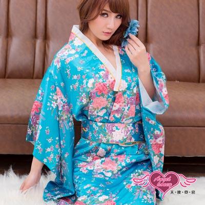 天使霓裳 京都物語 浴衣和服 角色扮演服(藍)