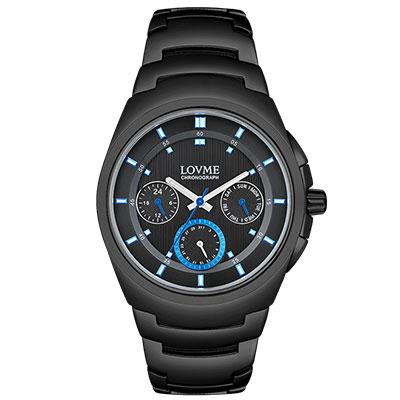 LOVME 潮流魅力時尚手錶-IP黑x藍圈/43mm