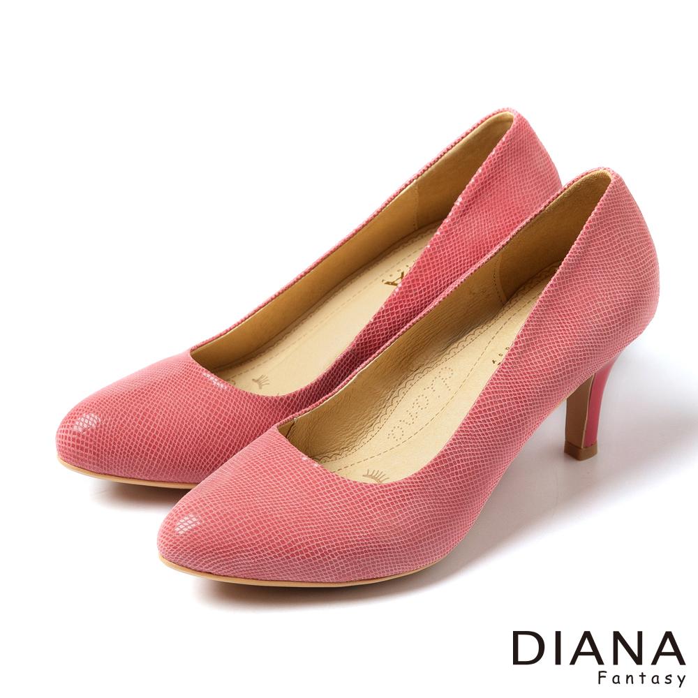 DIANA 超厚切焦糖美人款--特殊壓紋羊皮跟鞋-粉