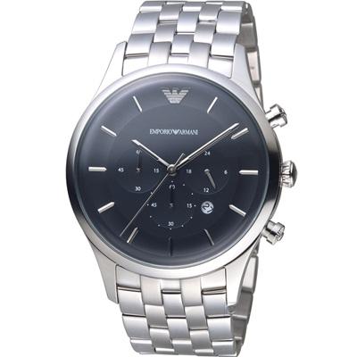 Emporio Armani Dress 計時時尚腕錶-黑/43mm
