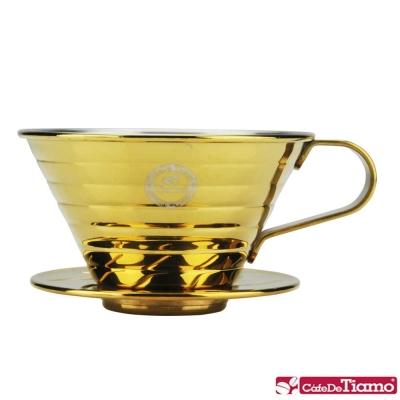 Tiamo K02不鏽鋼濾杯組附量匙滴水盤-鈦金款(HG5050GD)
