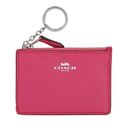 COACH淺桃紅防刮皮革後卡夾鑰匙零錢包