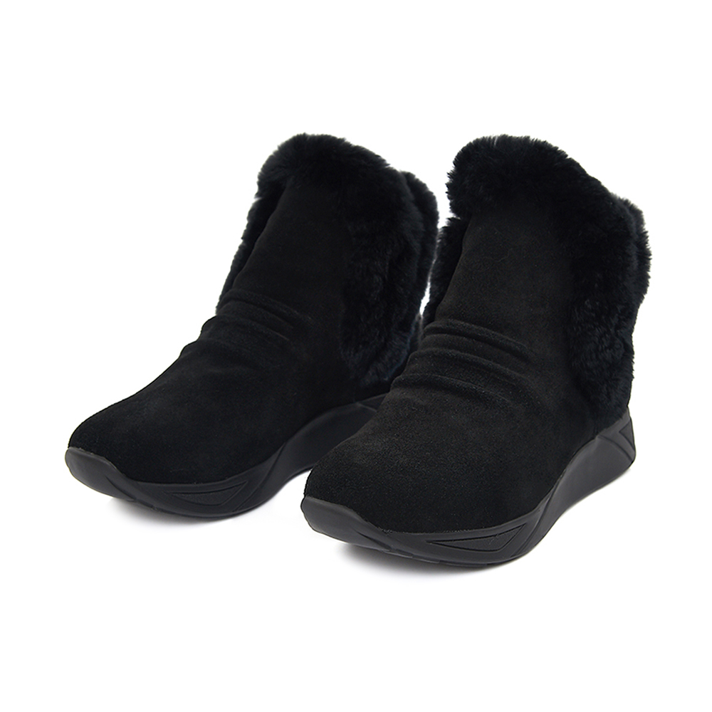 TAS 兔毛鞋口麂皮厚底休閒短靴-溫暖黑