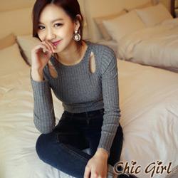 正韓 挖空設計感直紋坑條上衣 (共四色)-Chic Girl