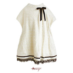 Annys慵懶荷葉領蕾絲裙擺長版上衣*3240米白
