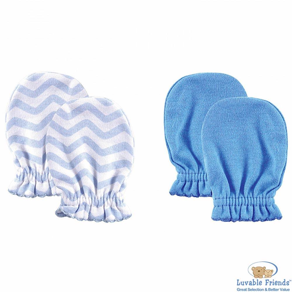 Luvable Friends 藍色幾何款嬰兒手套手襪套二件組