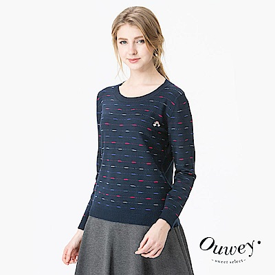 OUWEY歐薇 圓領條紋點線針織上衣(藍)