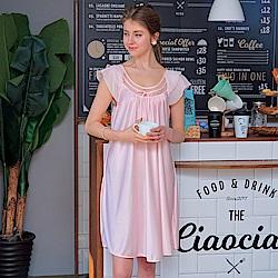 睡衣 彈性珍珠絲質 居家連身睡衣(95001)粉色-台灣製造 蕾妮塔塔