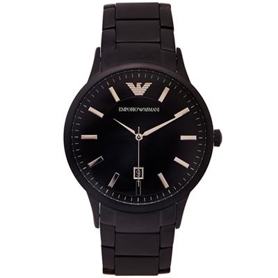 ARMANI 黑色時尚主義不鏽鋼款手錶(AR11079)-黑面/43mm