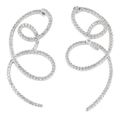 apm MONACO LESCASCADES系列晶鑽鑲飾雙環形不對稱純銀耳環(銀)