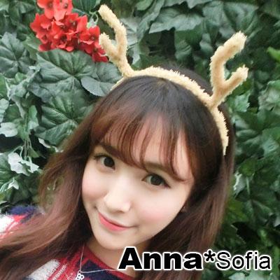 【3件5折】AnnaSofia 俏皮麋鹿角 Party毛絨細髮箍(黃杏)