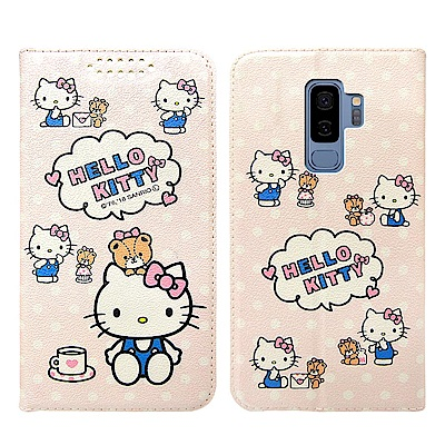 Hello Kitty貓 Samsung S9+ 粉嫩系列彩繪磁力皮套(小熊)