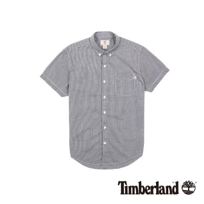 Timberland 男款藍白細格紋短袖襯衫