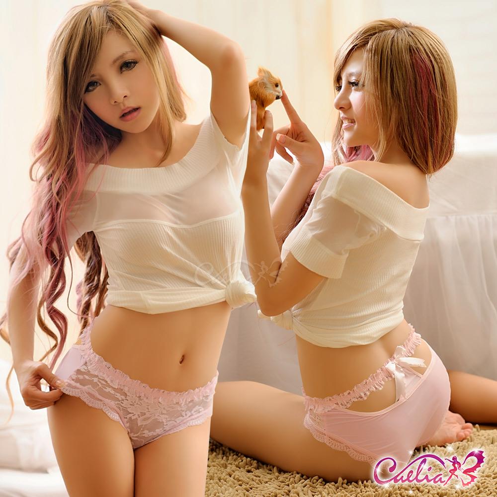 內褲 溫柔造型美臀內褲(粉紅)  Caelia