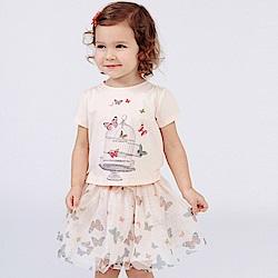 Dave Bella 粉色蝴蝶印花上衣+粉色蝴蝶紗裙短裙套裝2件組