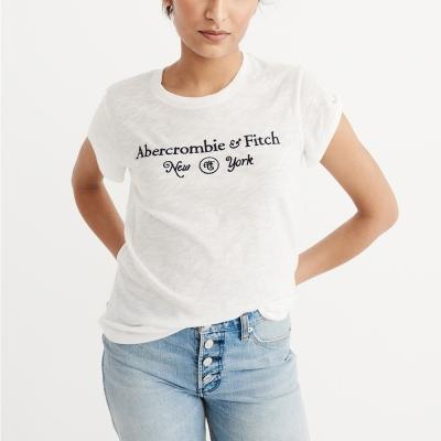 A&F 經典刺繡紐約文字設計短袖T恤(女)-白色 AF Abercrombie