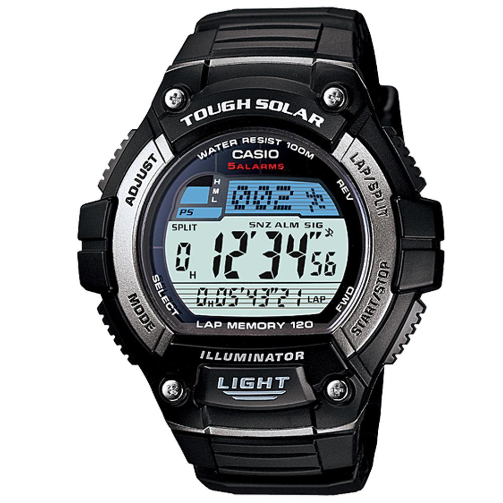 CASIO 陽光遊俠全方位電子運動錶( W-S220-1A)-銀框/49mm