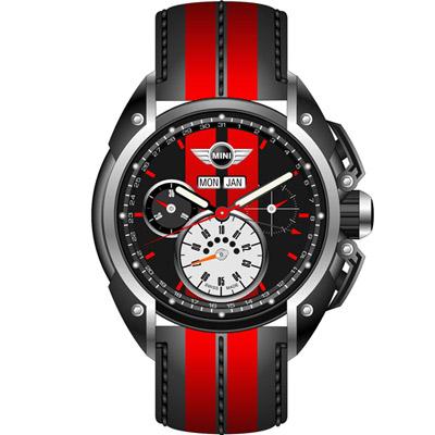 MINI Swiss Watches 經典設計時尚腕錶-紅x黑/45mm