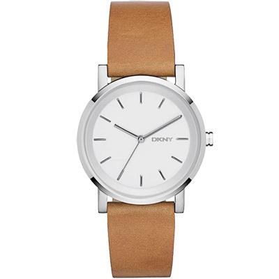 DKNY Soho 摩登城市大三針腕錶-銀x咖啡/34mm