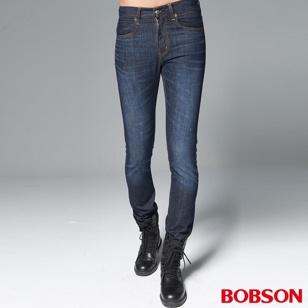 """BOBSON 男款1971""""日本進口黑標""""深藍刷白直筒褲"""