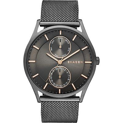 SKAGEN 都會米蘭日曆石英腕錶-鐵灰/40mm
