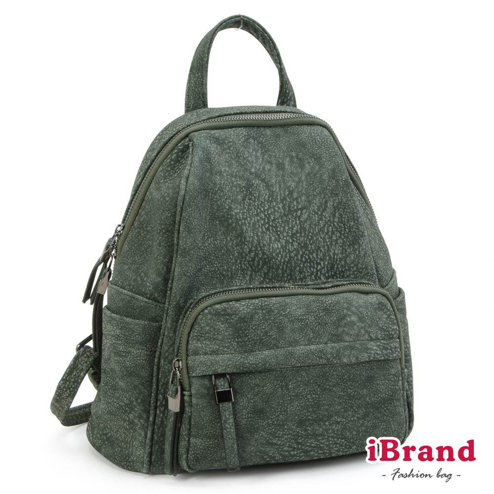 iBrand 韓國同步流行雪花紋簡約口袋後背包-綠