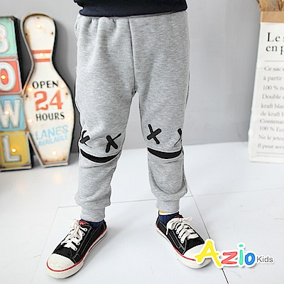 Azio Kids 童裝-長褲 不倒絨叉叉印花鬆緊長褲(灰)
