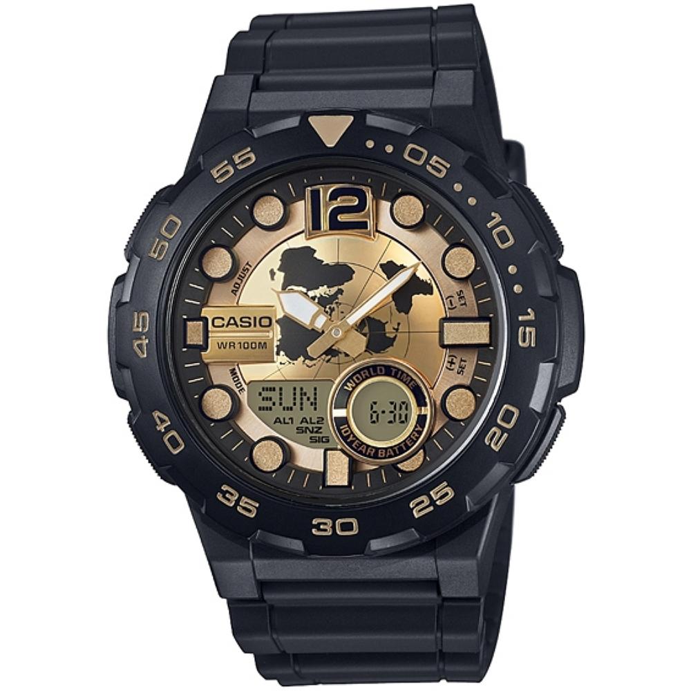 CASIO 赤誠者世界個性地圖雙顯錶(AEQ-100BW-9A)-金/47.7mm