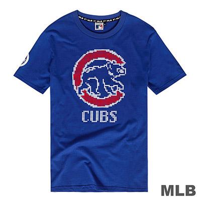 MLB-芝加哥小熊隊數位風大圖印花短T-藍 (男)