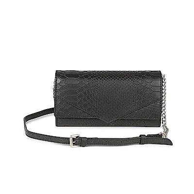 MARKBERG Neha 丹麥手工牛皮鍊帶兩用肩揹包 手拿包/錢包(鱗紋黑)