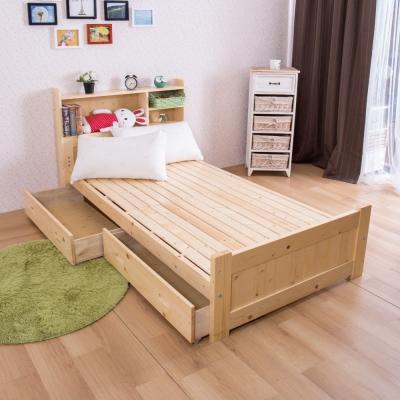 床台 單人3.5尺 北歐松木收納式單人床 AS