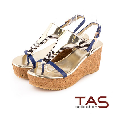 TAS-金屬色T字飾片動物紋馬毛楔型涼鞋-靚寶藍