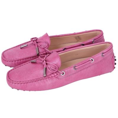 TOD'S Gommino 壓紋牛皮綁帶豆豆休閒鞋(女鞋/桃粉色)
