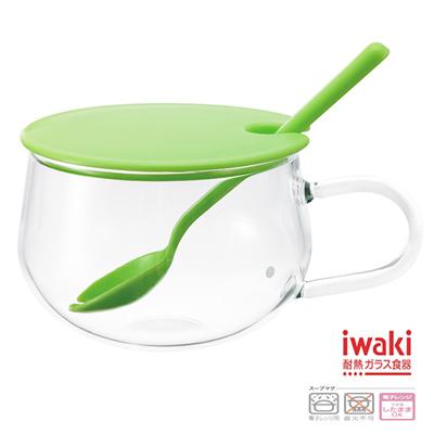 iwaki  玻璃微波調理杯300ml(鮮草綠)