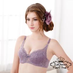 內衣  優雅蕾絲軟杯成套內衣-紫 La Queen