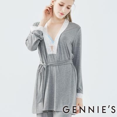 Gennies奇妮-優雅蕾絲綁帶罩衫-(TPA24-深灰)