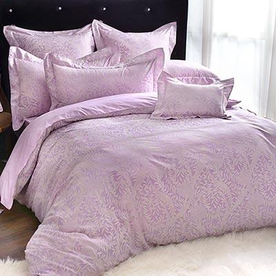 義大利La Belle 紫蘿米雅 特大緹花四件式被套床包組