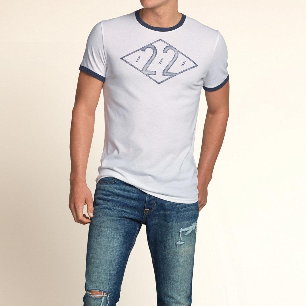 HOLLISTER Co. 男裝 NO.22滾邊設計短T恤(白)-薄款
