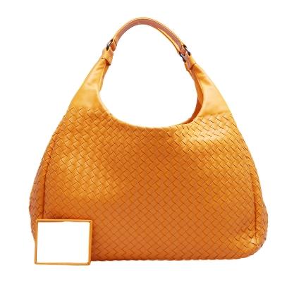 BOTTEGA VENETA 經典羊皮編織雙手柄磁釦肩背包(亮橘)