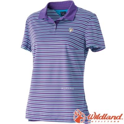 Wildland 荒野 0A51601-58葡萄紫 女 涼感紗抗UV條紋POLO衫