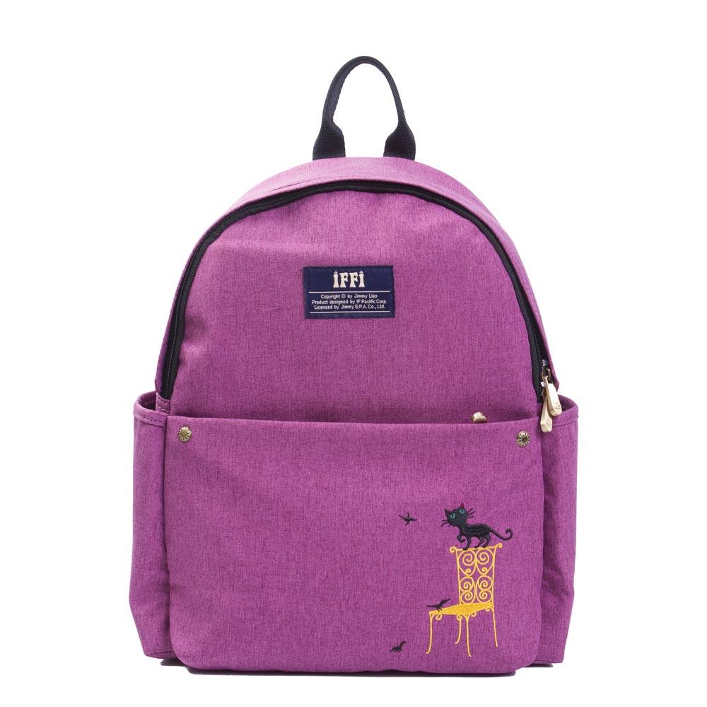 IFFIx幾米-後背包-刺繡貓-紫