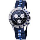 Dior CHRISTAL 巨星風采水晶三眼計時腕錶-藍/38mm