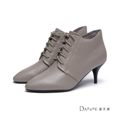 達芙妮DAPHNE 短靴-真皮綁帶中跟尖頭踝靴-灰