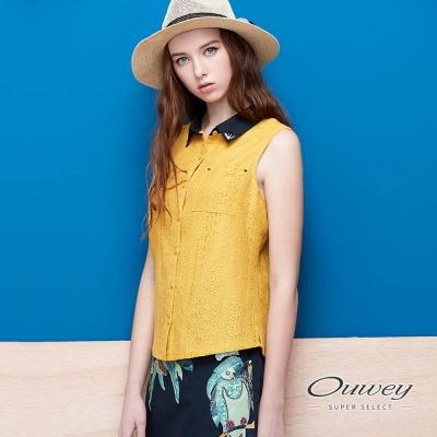OUWEY歐薇 可愛配色領蕾絲無袖上衣(黃)